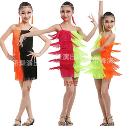 Sequin Latin Pas Cher-Couleurs Enfants à bas prix Sexy Pink Green Sequin Fringe Salsa Dancewear Costume Girls Ballroom latin Stage dancewear costumes