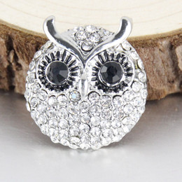 Owl Bracelet Watches NZ - 20pcs Watches women crystal owl 18mm ginger metal snap button for leather bracelets men's watch armband jewelry one direction