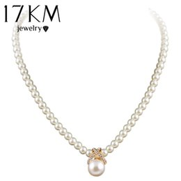 Women Imitation Pearl Necklace Canada - 17KM Korean Fashion Imitation Pearls Cute Rhinestone Pendant Necklace Hot Sale Jewelry For Women Wholesale