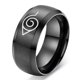 black stainless steel engagement rings NZ - Black Naruto Ring 8mm Titanium Steel Ring Stainless Steel Band Rings Women Men Couple Rings Jewelry for Wedding Engagement party