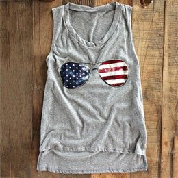 Barato Colete Assimétrico-Casual Summer Women Bandeira americana Stripes and Stars Glasses Print T-Shirt Loose Asymmetric Hem Sleeveless Vest