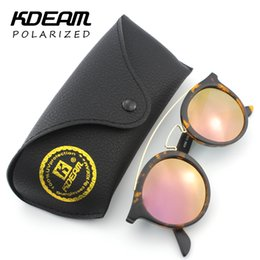 sunglasses polarizadas NZ - Wholesale- Kdeam Newest Clubround Sunglasses Polarized Men Steampunk Glasses Women gafas de sol polarizadas Shades With Leather Box 4256