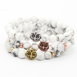 Discount good quality rings - New Design 1PCS Good Quality 8mm Natural White Howlite Stone Black Matte Agate Beads With Gold, Rose Gold, Silver Owl Br