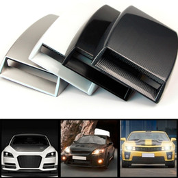 Discount fiber vented - Wholesale- 4 colors car styling Universal Decorative Air Flow Intake Scoop Turbo Bonnet Vent Cover Hood Silver white bla
