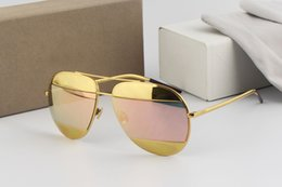 SunglaSSeS aviator gold mirror online shopping - Top quality brand designer gold aviator pink Mirror Sunglasses for Men Women UV Protect Sunglasses with Original Leather Box