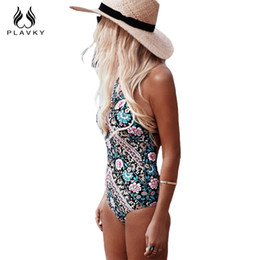 Barato Sexy Retro Swim Wear-Wholesale- 2017 Ladies Retro Sexy Floral Monokini High Cut Trikini Swim Wear Bathing Suit Bodysuit Thong Swimwear Mulheres One Piece Swimsuit