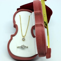 Wholesale Boxes Packaging Australia - Violin Shape Velvet Ring Box Earring Pendant Locket Necklace Jewelry Gift Case and package DHL free shipping