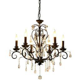 chandelier lighting vintage rustic wrought iron chandelier wedding decoration black led crystal chandeliers 6 8 light e14 led lamp - Wrought Iron Chandelier
