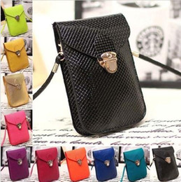 cell phone pouch pu leather Canada - 35pc PU Leather Mini Cross-body Messenger Bags wallet Purse Shoulder Bag Mobile Phone pouch Cover Button clutch handbag