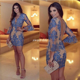 Long sLeeve semi formaL dresses online shopping - 2017 Sexy V Neck Sheath Short Cocktail Dresses robe de soiree Lace Appliques backless Semi Prom Party Dress Long sleeves Formal Gowns