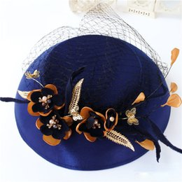 Wholesale Vintage Royal Blue Floral Bridal Hat Unique Fine Garden Face Veil Wedding Hair Accessory Bride Mother Special Occasion Party Holiday Hats