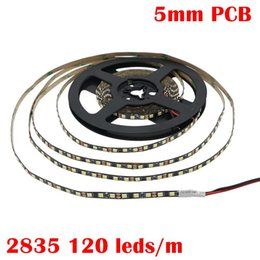 pcb strip board NZ - Edison2011 2835 120led m 5mm PCB Led Strip Light With Black PCB BOARD Cool White Warm White Free SHipping BY Epacket To Russia
