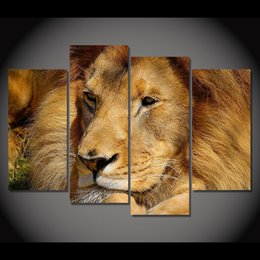 art lion king 2019 - 4 Panel Canvas Art Canvas Painting Lion Nap King of Animal HD Printed Wall Art Poster Home Decor Picture for Living Room