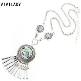 vintage tibetan tassels Canada - VIVILADY Vintage Tibetan Silver Plated Round Natural Shells Boho Long Tassels Necklaces Women Costume Coat Bijoux Accessory Gift