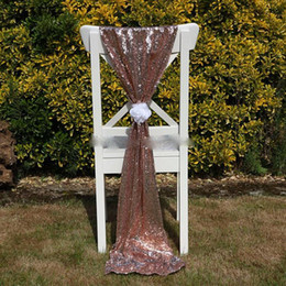 white wedding chairs wholesale UK - Cheap Rose Gold Sequin Chair Sashes Fomal Wedding Party Decor Dazzling Chair Bows Chair Covers 150*50cm Size