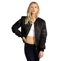 Debout Collant Manteaux Femmes Pas Cher-Vente en gros- Newly Bomber Jacket Women Basic Coats Celeb Bombers Stand Collar Zip Up Short Black Outland Coat Chaussettes Chaquetas Mujer Oc22