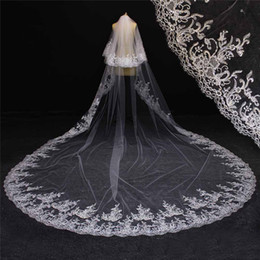 Discount Bling Bridal Veils 2017 Real Image 2 Layers Sequins Lace Edge 3 Meters Wedding