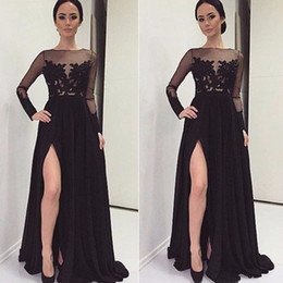 Discount transparent hot sexy gown Hot Sale Long Sleeve Black Evening Dresses Sexy New Lace Chiffon Front Split Formal Transparent Prom Gowns Custom Made Robe de Soiree