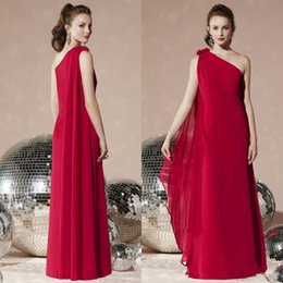 red carpet birthday party Australia - Elegant formal banquet evening dress 2019 friends birthday party beautiful red chiffon dress Qi Qi fashion one shoulder toast dress haute co