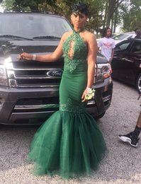 Barato Halter Vestidos De Verde Escuro-Dark Green Prom Dresses Halter Keyhole Neck Lace Appliques Long Mermaid Dresses Evening Wear 2017 Black Girls Formal Gown