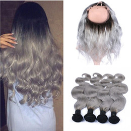 $enCountryForm.capitalKeyWord Canada - Dark Roots Silver Grey Ombre 13x4 Lace Frontal Closure With 4Bundles 5Pcs Lot 1B Grey Ombre Brazilian Body Wave Human Hair With Frontal