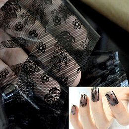 Barato Adesivos De Arte De Unhas 3d Atacado-Atacado - 1pc 3D Roll Black Flower Lace Base Nail Art Transfer Foil Stickers Flor Nail Decals Dicas Manicure DIY Sticker Tool