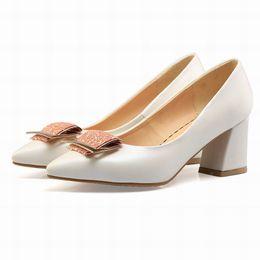 $enCountryForm.capitalKeyWord NZ - Girls Ladies Handmade Fashion Spring And Autum Cute Basic pumps Womens Middle Chunky Heel Stiletto Pointed Toe Office Good Quality Shoe 75-1