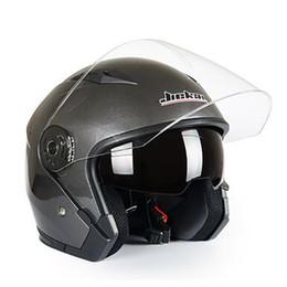 Helmet Lenses Canada - Wholesale- Motorcycle Helmet Male Female Four Seasons capacete para motocicleta cascos para moto Double Lens RACING HALF HELMETS