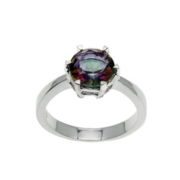 gemstone bands UK - Wedding Band Ring Sterling Silver Rainbow Fire Mystic Topaz Hermosa Gemstone Women Fashion Jewelry Prom Gift Round Shape Ring Size 7 8 9