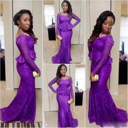 Barato Vestido De Manga Cocktail Cocktail-Saudi Arab Purple Vestidos de noite com mangas compridas com Scoop Lace Peplum Mermaid Prom Dress Long zipper Vestidos africanos Cocktail Party Vestidos