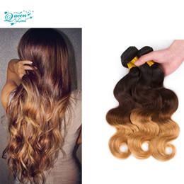 Human Hair Extensions 613 Weave NZ - 613 Peruvian Virgin Hair Body Wave 3 Tone Ombre Hair Extensions 3 Bundles Unprocessed Peruvian Body Wave Human Hair Weave