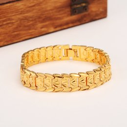 24k gold jewelry dubai 2019 - New eternal classics Wide Bracelet 24k Real Solid Yellow Gold GF Dubai Bangle Women Men's Trendy Hand Watchband Cha