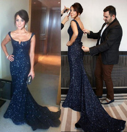 Simple Robe De Sirène De Champagne Pas Cher-2017 Livraison gratuite Navy Blue Sequin Mermaid Robe de soirée Spaghetti Straps Robes de soirée Lace Up Bow Prom Gowns