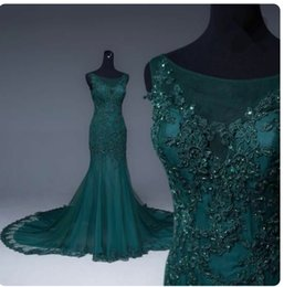 Barato Vestidos De Baile De Lantejoula Sexy E Lantejoulas-Sexy Dark Green Vestidos de noite Tribunal Train Sheer com Floral Applique Shining Sequins Zipper Back Long Mermaid Prom Gowns Vestido formal