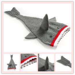 $enCountryForm.capitalKeyWord Canada - Wholesale-Childrens Shark Tail Blankets Mermaid Tail kids Sleeping Bags Wraps Cocoon kids blankets Warmer Knit Blankets A0380