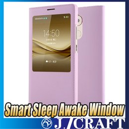 Luxury Display Cases Canada - Luxury Smart Sleep Awake Window Leather Flip Case Cover With Call Display ID For Huawei Mate 8