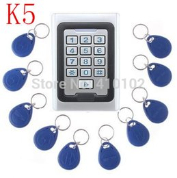 Discount proximity card system - Wholesale- 15pcs Tag card+125KHz RFID Waterproof Access Control Keypad Metal Access Control System RFID Proximity Card R
