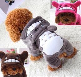 Venta al por mayor de Ropa de perro suave y cálida Escudo traje de mascota Ropa de lana para perros Cachorro de dibujos animados chaqueta de invierno con capucha Ropa de otoño XS-XXL