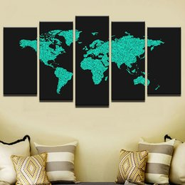 oil painted maps 2019 - 5 Pcs Set Framed HD Printed Black Green World Map Modern Home Wall Decor Poster Wall Pictures Canvas Oil Painting WR-08