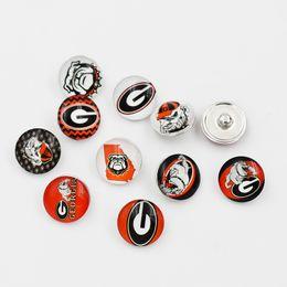 Großhandel Gemischte Georgia-Druckknöpfe 18MM rundes Glassport-Team-Schnappcharme-Qualitäts-Schnappzubehör für Halsketten-Armband-Ohrring