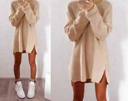 $enCountryForm.capitalKeyWord Canada - 2017 winter women long sleeve zip jumper sweater knit tunic top quality loose tight dresses for women free shipping
