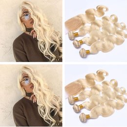 $enCountryForm.capitalKeyWord Australia - Brazilian Blonde Human Hair Weaves With Closure 4Pcs Lot Body Wave Bleach Blonde 4x4 Lace Closure With 3 Bundles Extensions Pure #613 Color