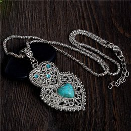 China Wholesale-Double Heart Green Turquoise Stone Pendant Necklace Tibetan Silver Women's Crystal Fashion Necklace Jewelry Free Shipping cheap tibetan silver turquoise stone suppliers