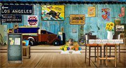 Vintage Car Prints NZ - Custom 3d mural Internet cafes 3D Vintage Motorcycle car wood brick wall European retro Cafe bedroom living room mural wallpaper