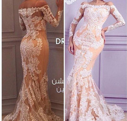 Wholesale 2021 New Sexy Arabic Evening Dresses Off Shoulder Long Sleeves Sheer White Lace Appliques Beaded Pageant Dresses Formal Women Gowns