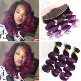 $enCountryForm.capitalKeyWord NZ - Dark Roots Purple Lace Frontal Closure With Hair Bundles Two Tone 1B Purple Ombre Body Wave Virgin Hair Weaves With Lace Frontal