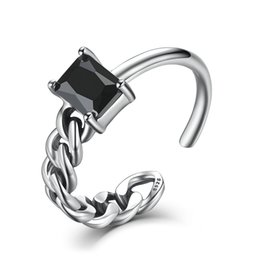 Wholesale Genuine Sterling Silver Opening Adjustable Ring for Women Black Square Stone Mix Match Brinco Fine Jewelry VSR004