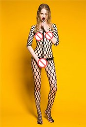 Ropa Interior Larga Atractiva Atractiva Baratos-Hot Seamless Big Diamond Net manga larga Bodystocking Crotchless Fishnet Cuerpo de la media Sheer Body Traje sexy lencería erótica