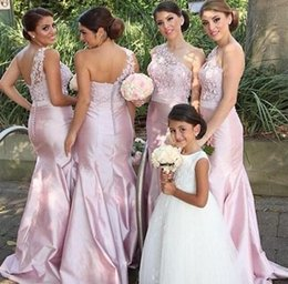 Barato Rosa Um Ombro Top-Gorgeous Elegant Mermaid Bridesmaid Dresses One Shoulder Sleeveless Lace Top Blush Pink Hot Sale Maid of Honor Vestidos para Casal Party