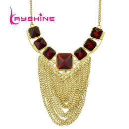 Costumes De Halloween Couleur Rouge Pas Cher-Cheap Costume Jewelry Fashion Elegent Red Square Rhinestone Gold Color Chain Tassel Collier Bijoux
